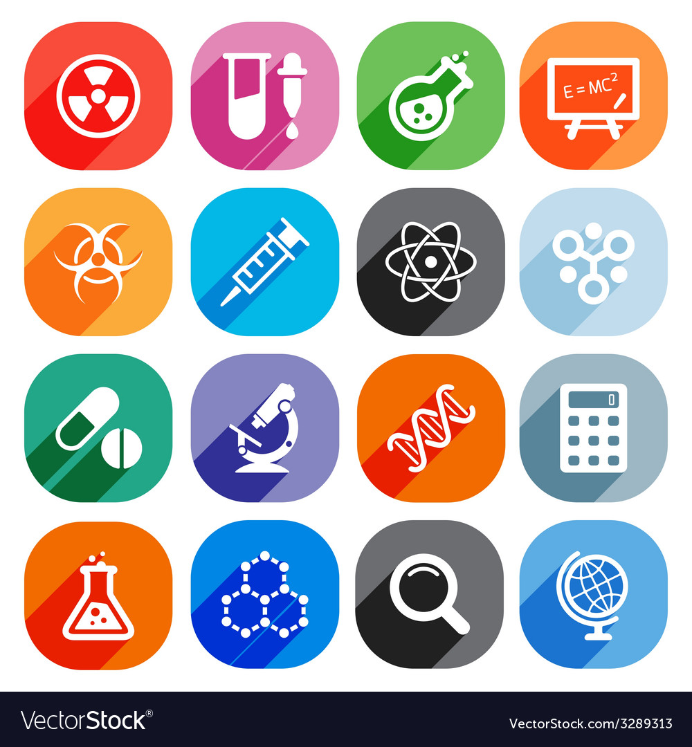 Trendy flat science icons elements vector | Price: 1 Credit (USD $1)