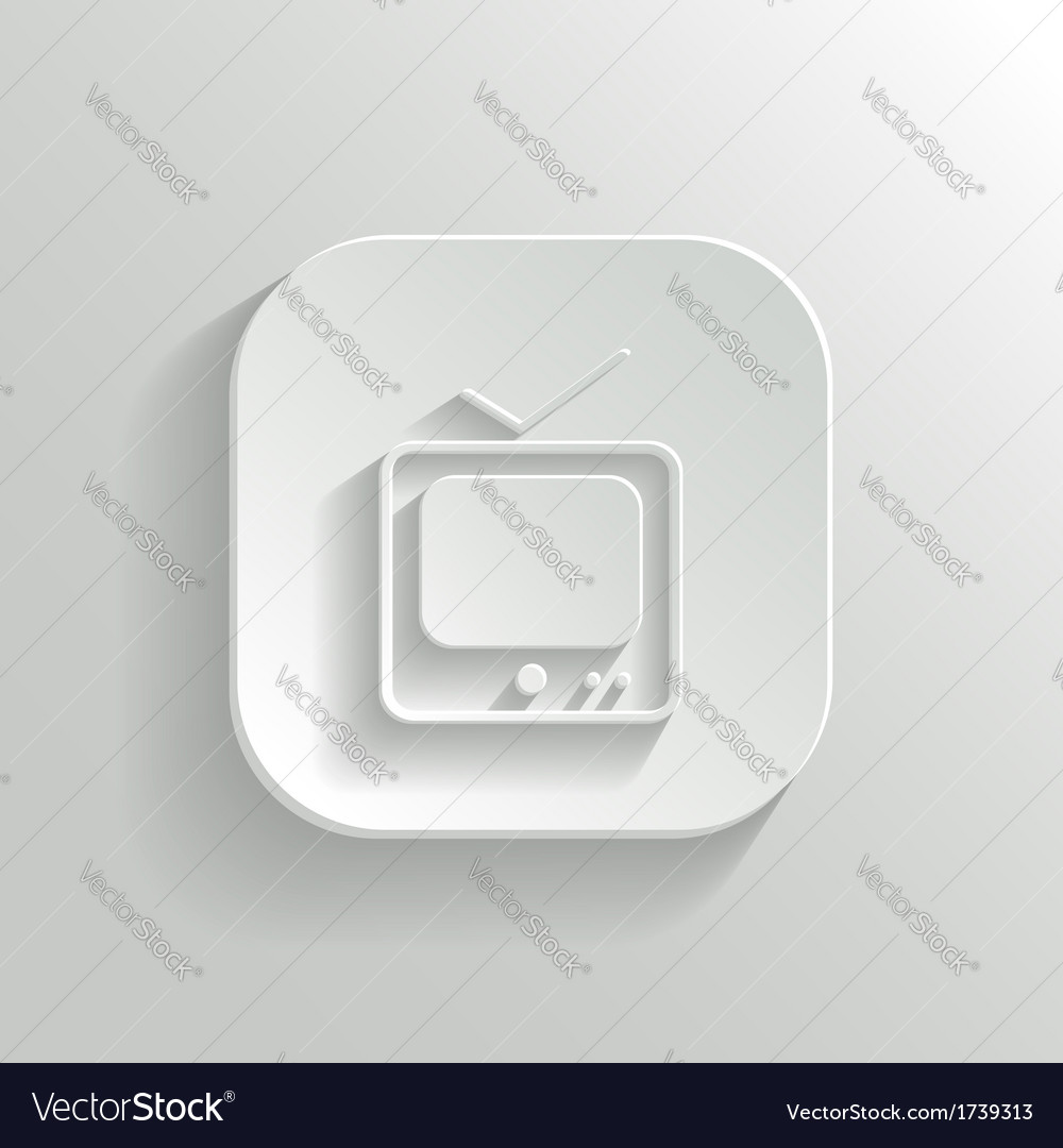 Tv icon - white app button vector | Price: 1 Credit (USD $1)
