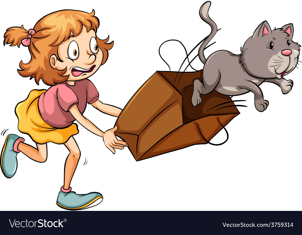 A young girl chasing the cat vector | Price: 3 Credit (USD $3)