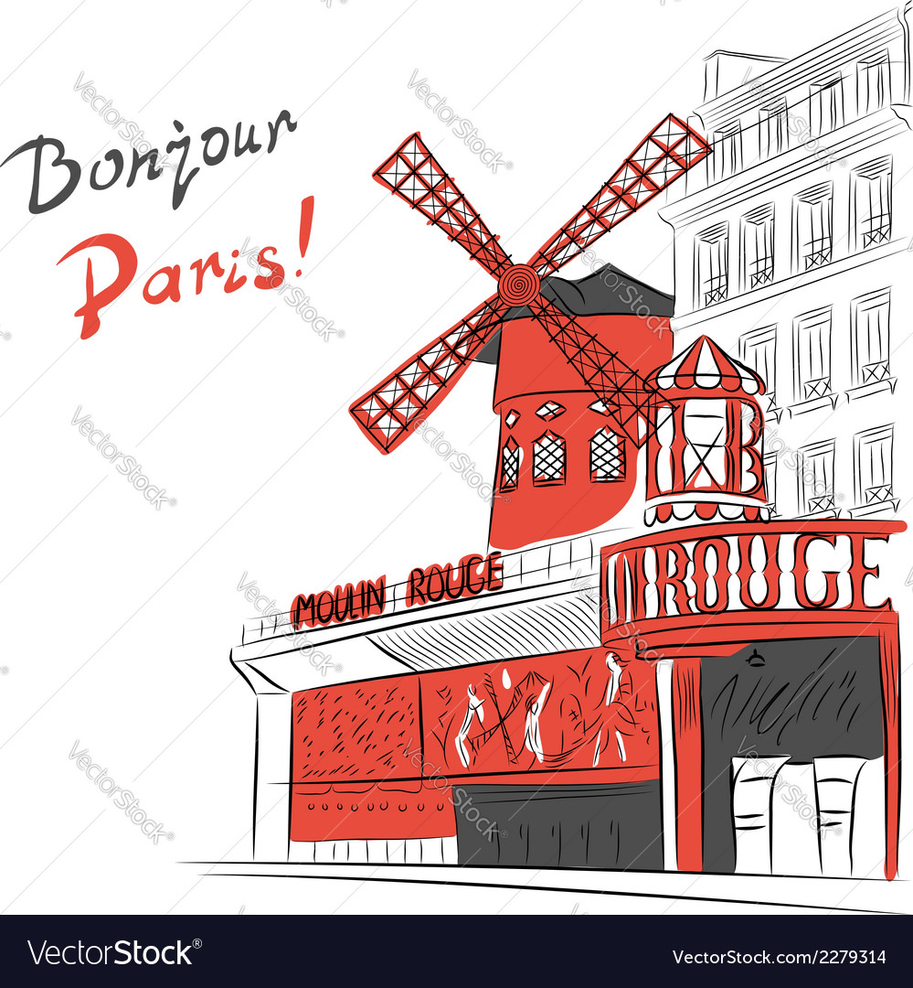 Cabaret moulin rouge in paris vector | Price: 1 Credit (USD $1)