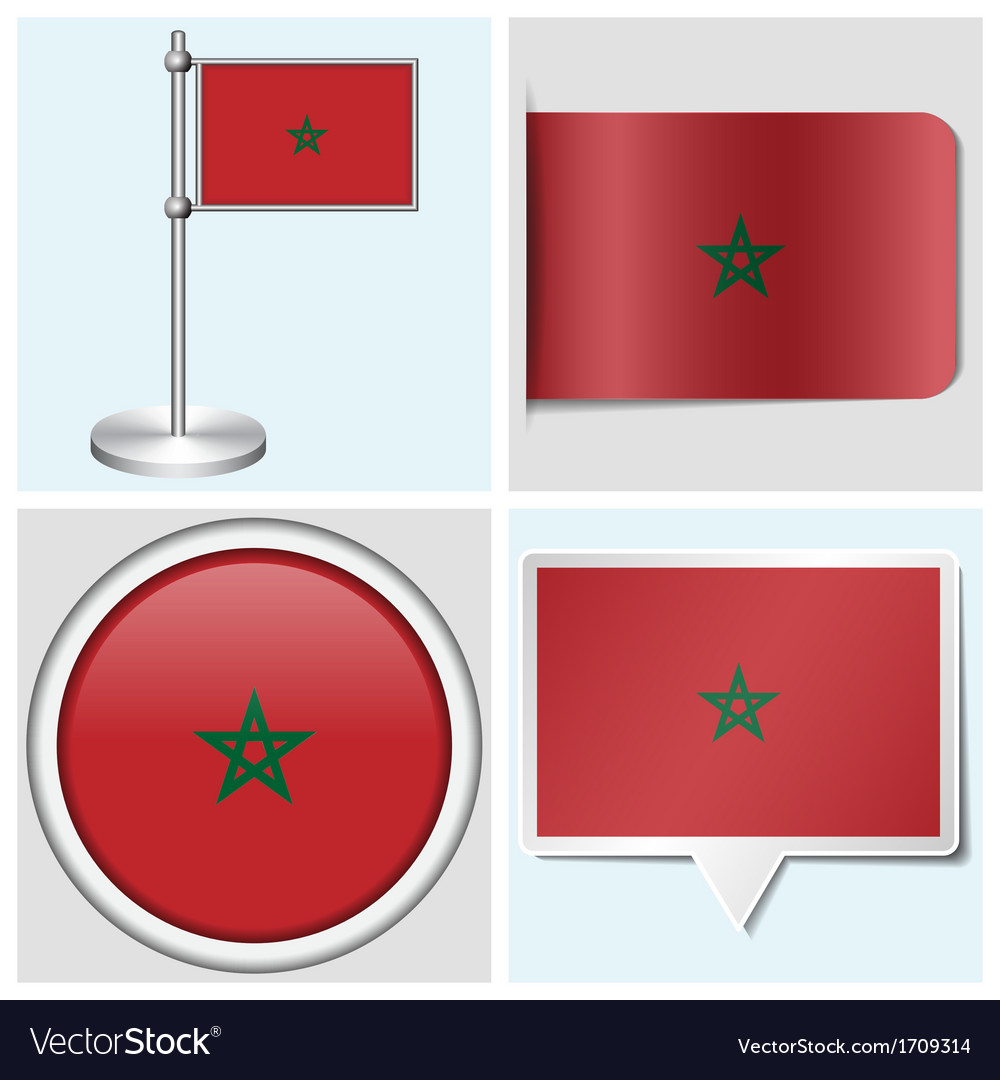 Morocco flag - sticker button label flagstaff vector | Price: 1 Credit (USD $1)