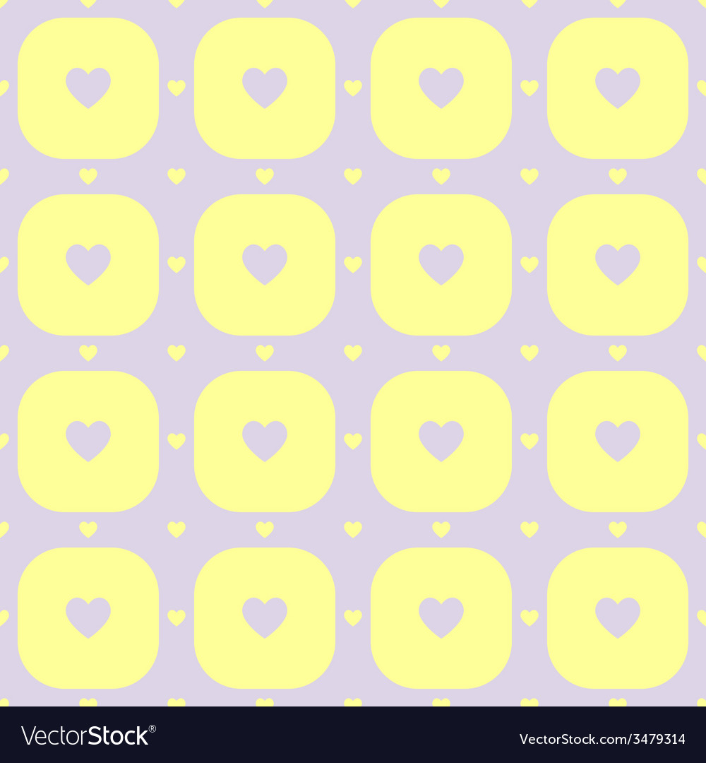 Purple hearts in yellow rounded squares pattern vector | Price: 1 Credit (USD $1)