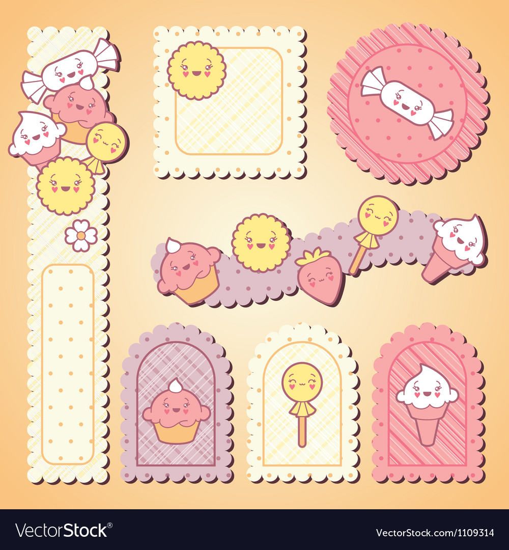 Set of decorative design elements with kawaii food vector | Price: 1 Credit (USD $1)