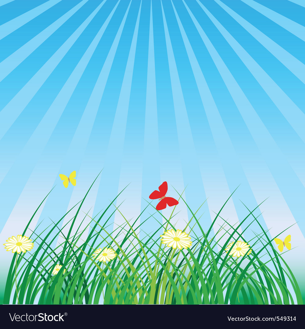 Summer spring nature background grass butterflies vector | Price: 1 Credit (USD $1)