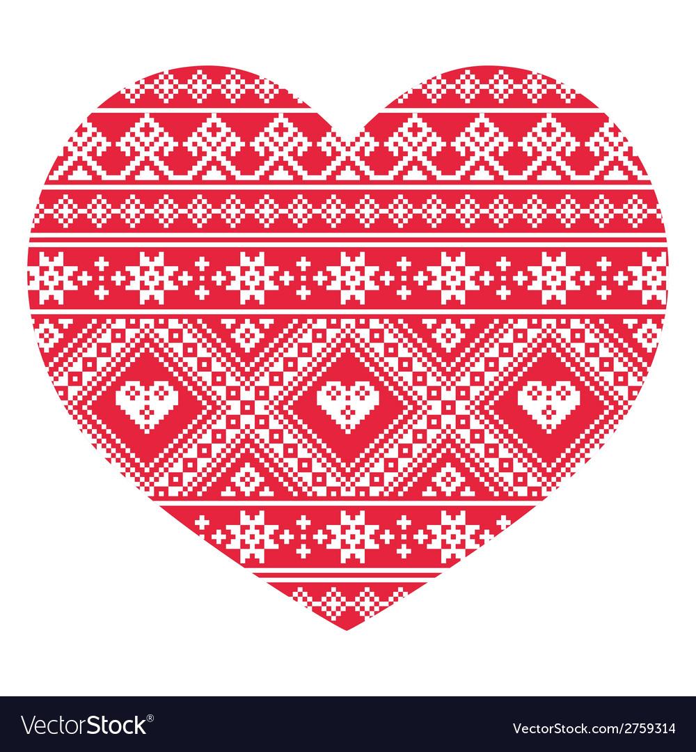 Traditional ukrainian red folk art heart pattern vector | Price: 1 Credit (USD $1)