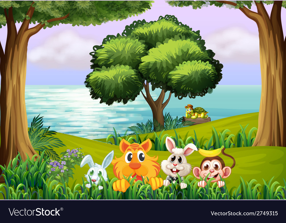 Animals at the forest vector | Price: 1 Credit (USD $1)