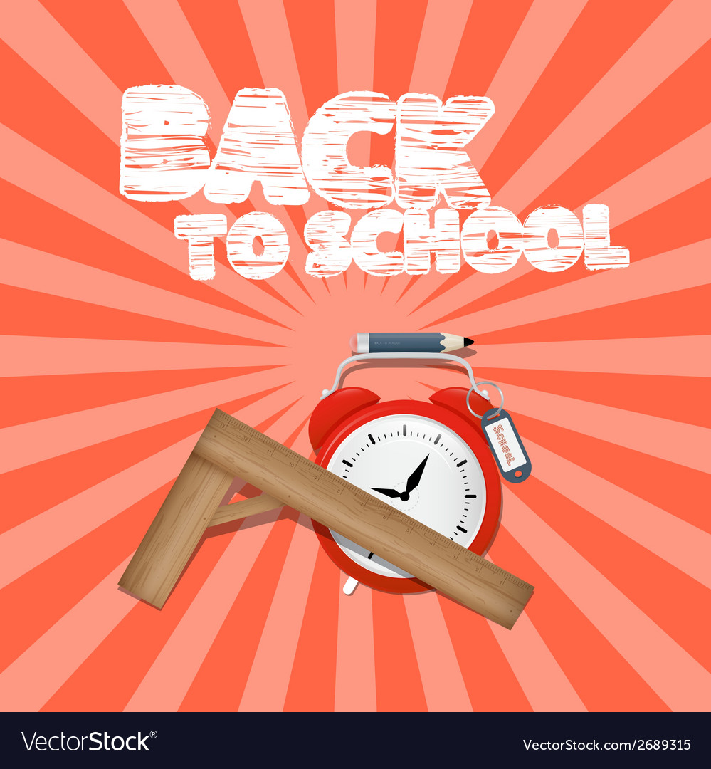 Back to school retro with alarm clock and ru vector | Price: 1 Credit (USD $1)