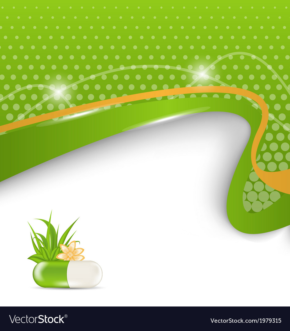 Background for medical theme with green pill vector | Price: 1 Credit (USD $1)