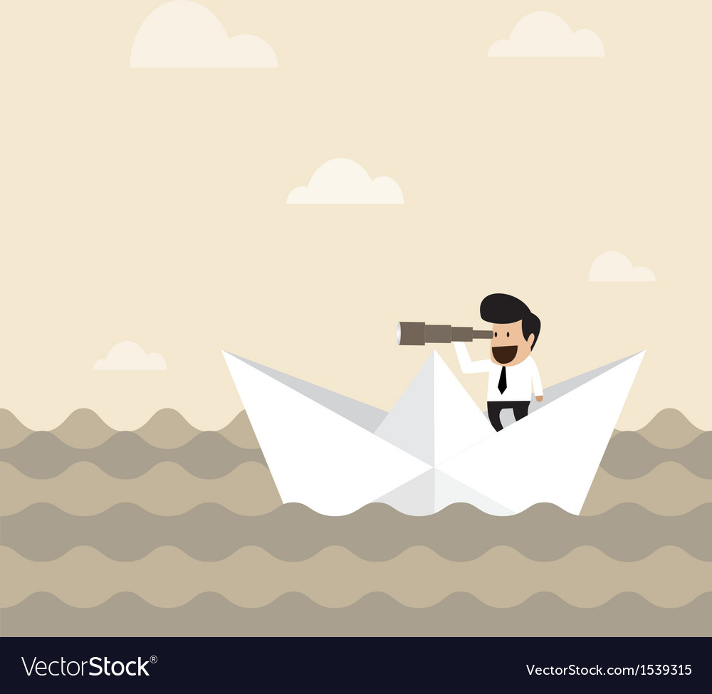 Businessman on paper boat searching for opportunit vector | Price: 1 Credit (USD $1)