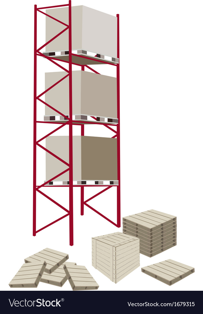 Cargo shelf in a warehouse with crates vector | Price: 1 Credit (USD $1)