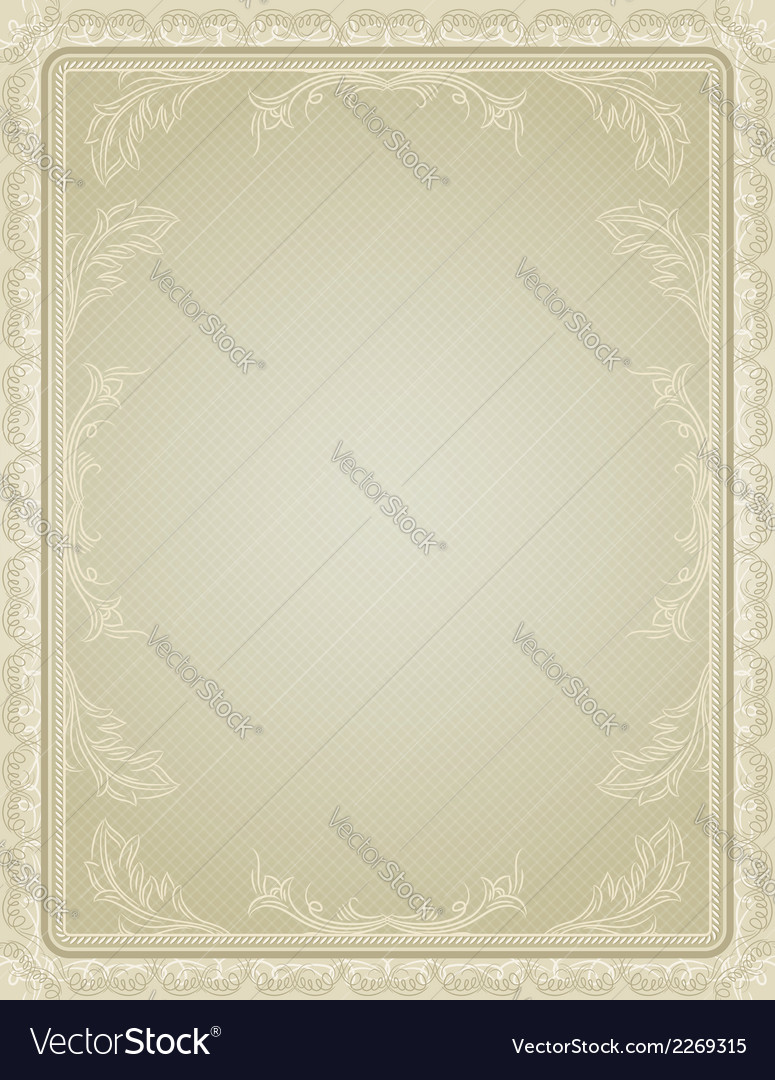 Certificate background with calligraphic lines vector | Price: 1 Credit (USD $1)
