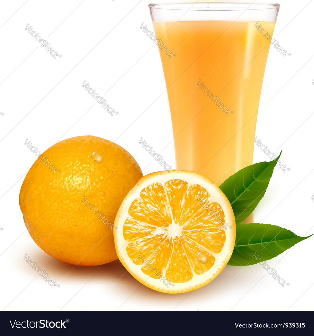 Fresh orange and glass with juice vector | Price: 3 Credit (USD $3)