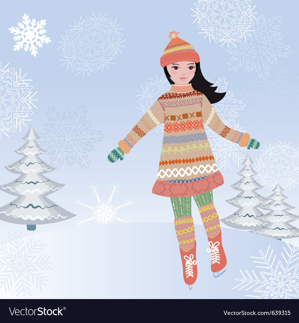 Ice skating girl vector | Price: 1 Credit (USD $1)