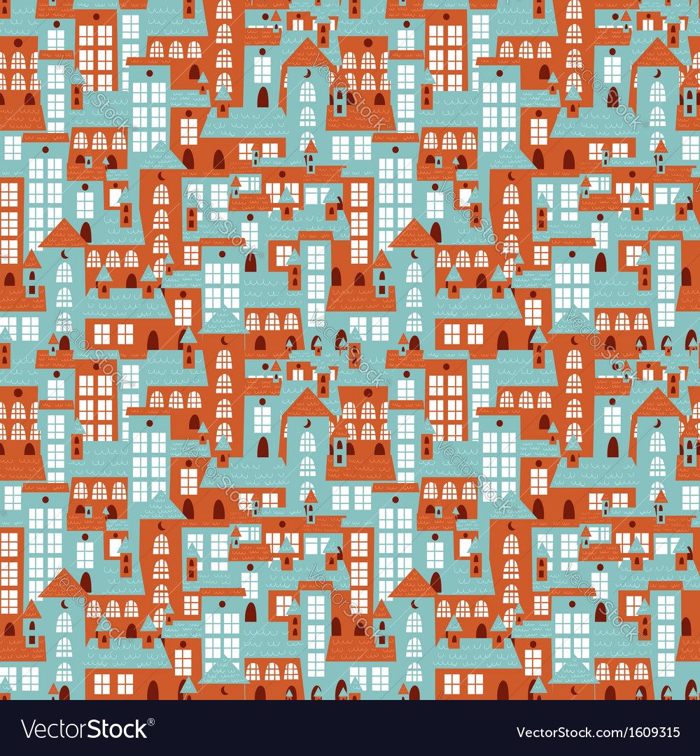 Retro city houses seamless colorful pattern vector | Price: 1 Credit (USD $1)