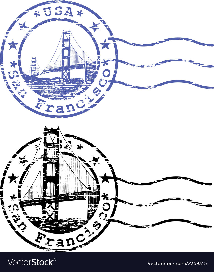 Shabby stamp with cityscape of san francisco vector | Price: 1 Credit (USD $1)