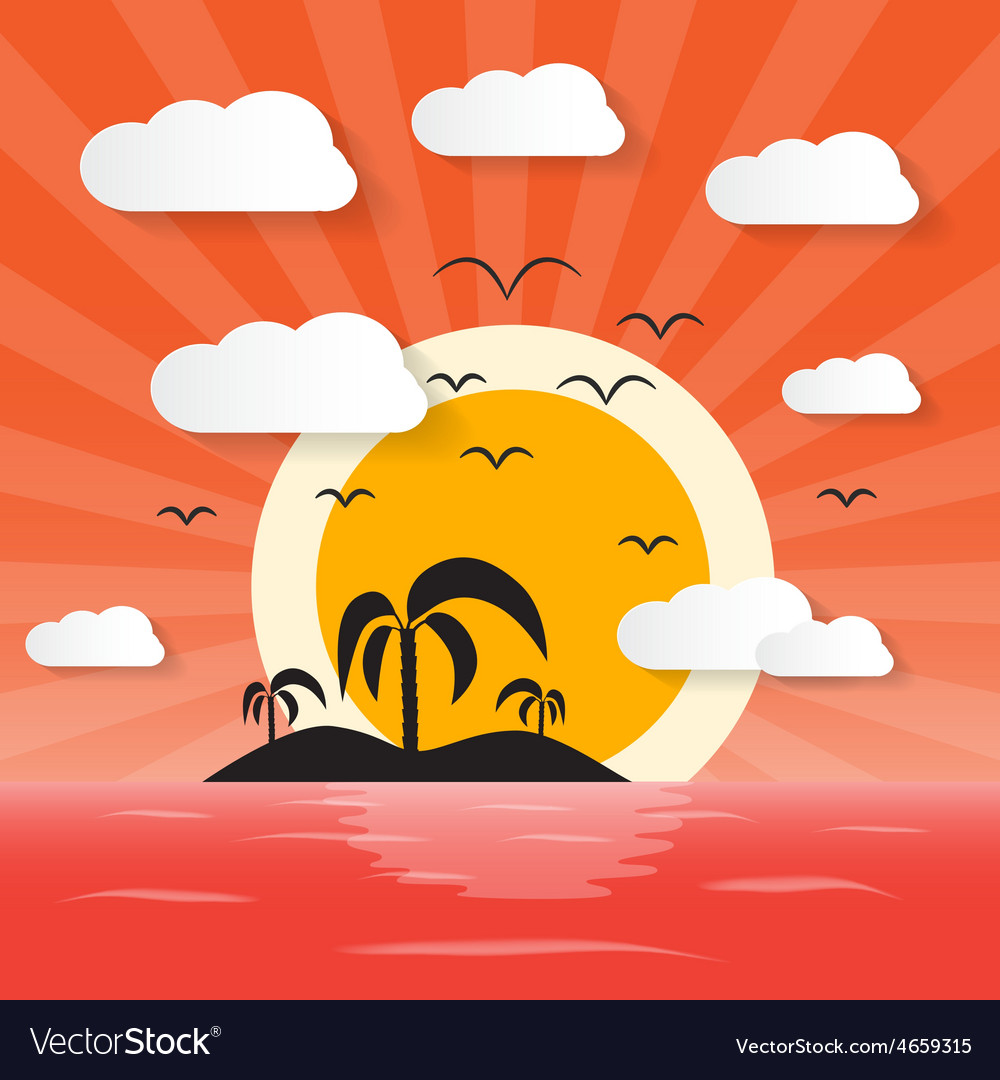 Sunset ocean with island and palm vector | Price: 1 Credit (USD $1)