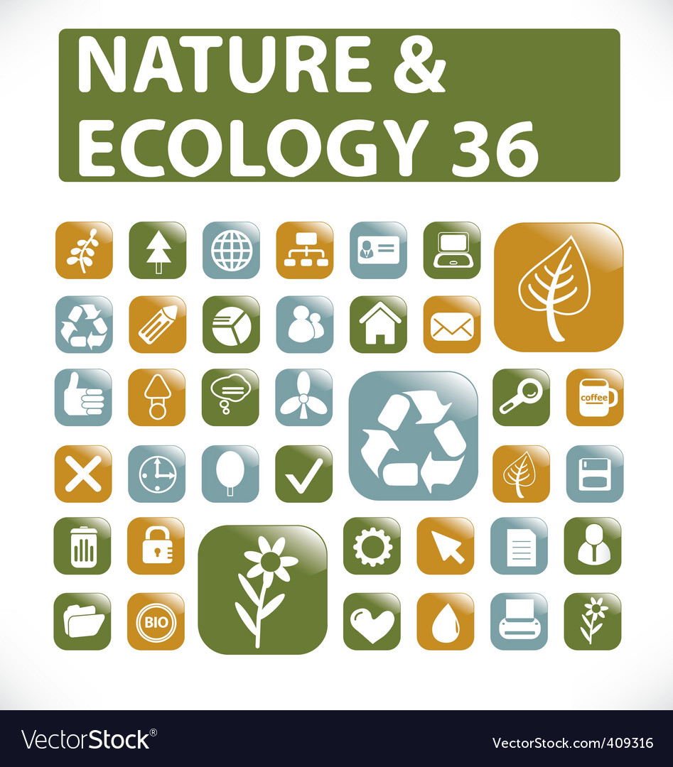 36 nature  ecology buttons vector | Price: 1 Credit (USD $1)