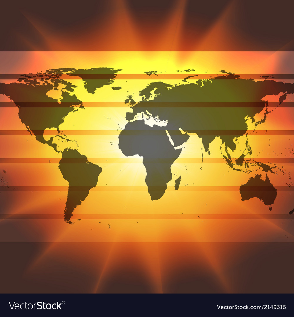 Abstract world map on the sunset background vector | Price: 1 Credit (USD $1)