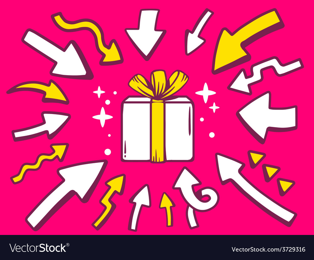 Arrows point to icon of gift box on pink vector   Price: 1 Credit (USD $1)