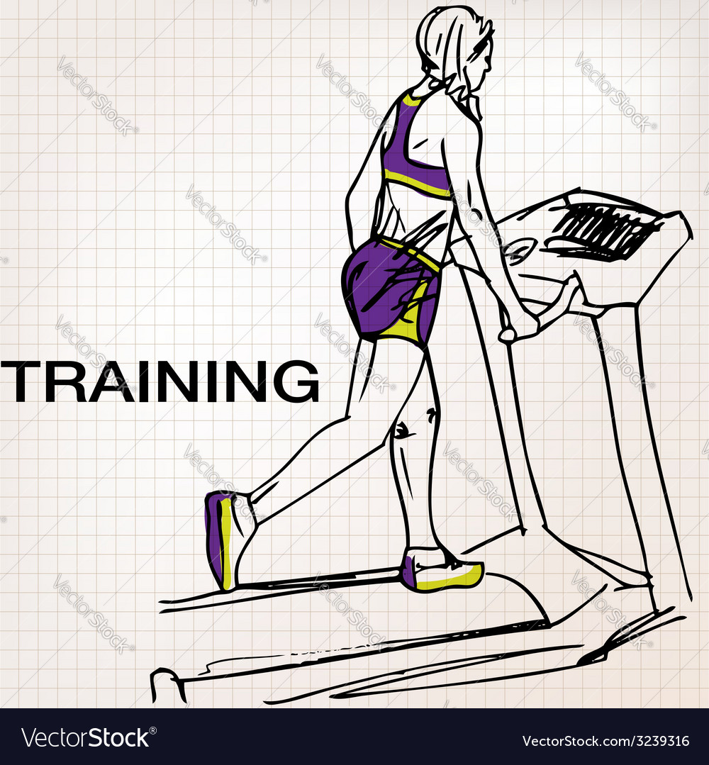 Athletic woman on gym class walk treadmill runni vector | Price: 1 Credit (USD $1)