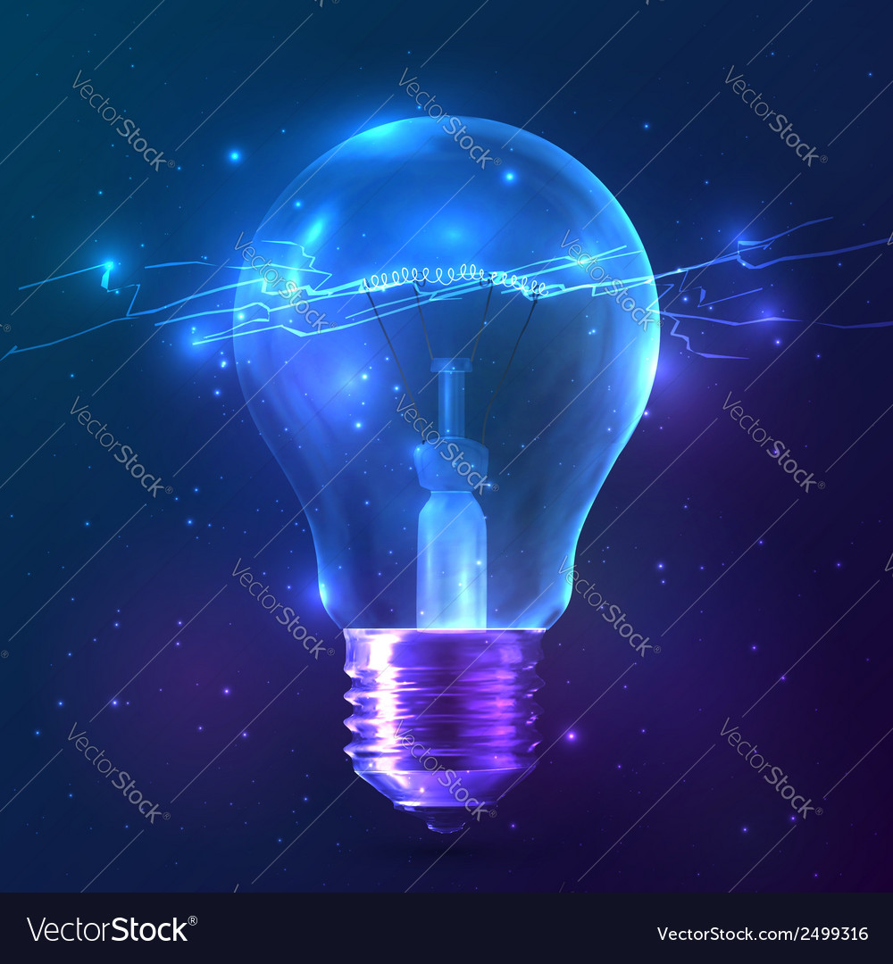 Blue shining bulb with lightning inside vector | Price: 1 Credit (USD $1)