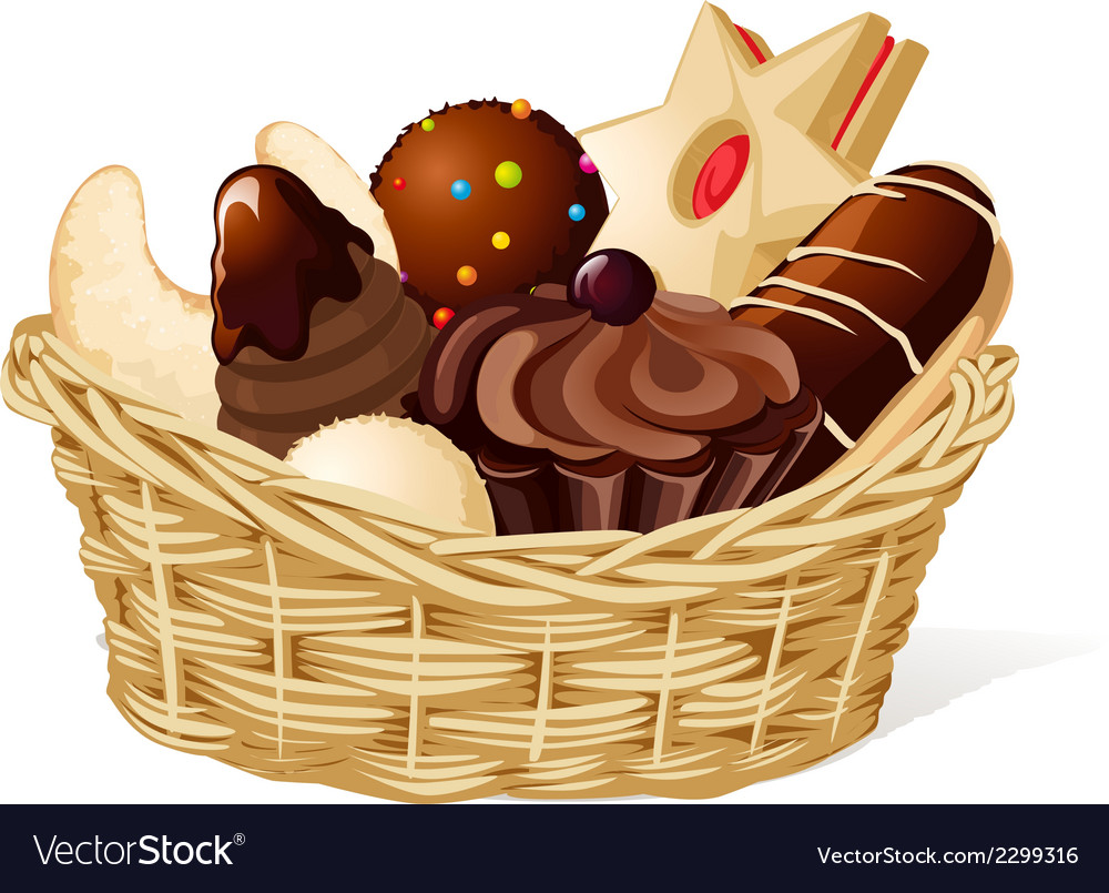 Christmas still life with basket full of cookies vector | Price: 1 Credit (USD $1)