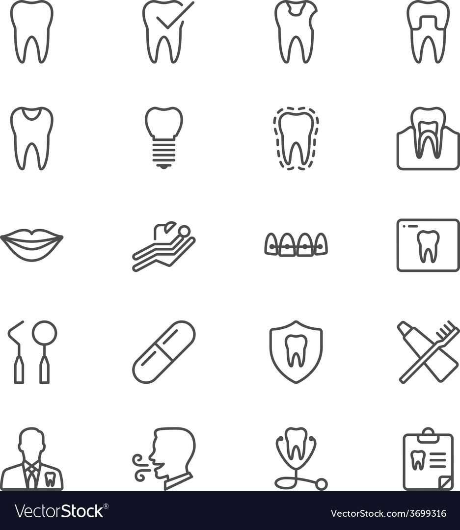 Dental thin icons vector | Price: 1 Credit (USD $1)