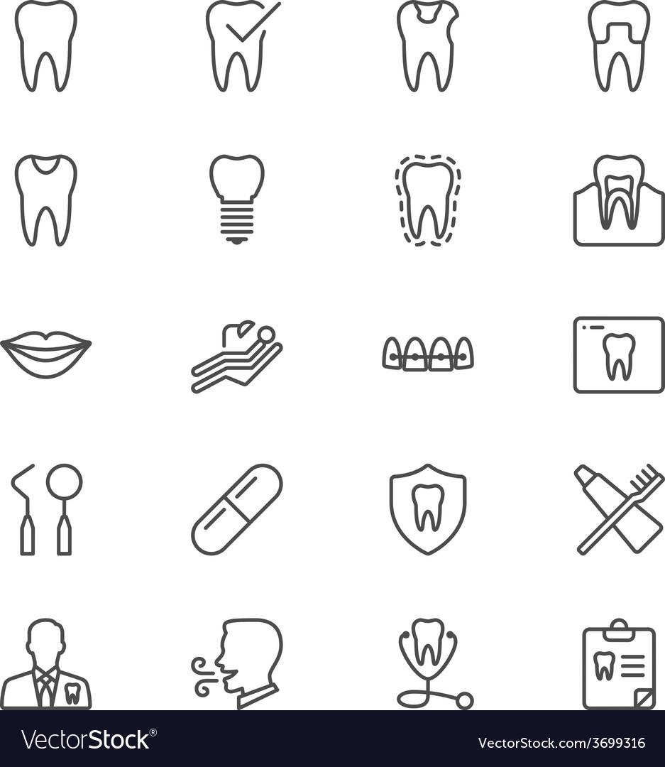 Dental thin icons vector