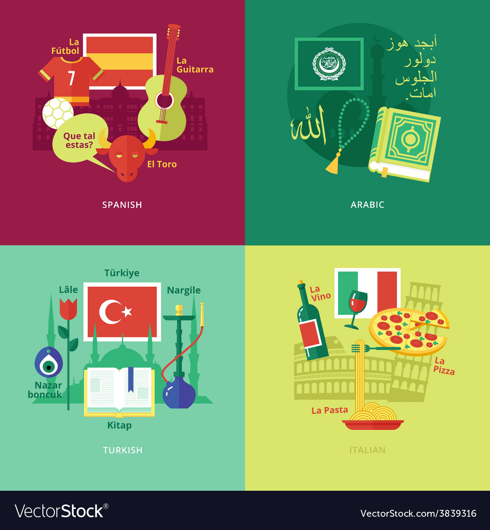 Flat design concept icons for foreign languages vector | Price: 1 Credit (USD $1)