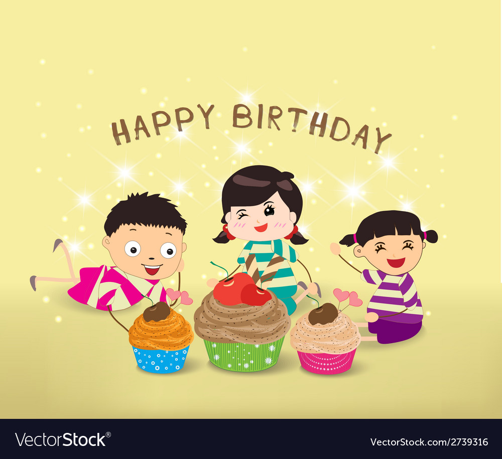 Happy birthday card with kids and cupcakes vector | Price: 1 Credit (USD $1)