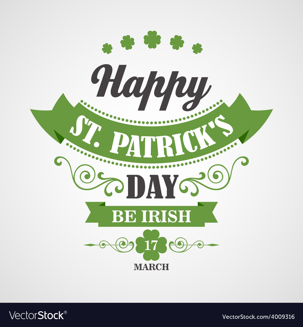 Happy saint patrick day card typographic with vector | Price: 1 Credit (USD $1)
