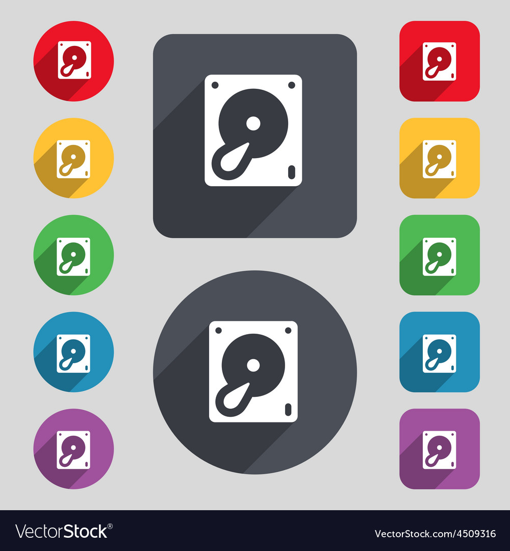 Hard disk and database icon sign a set of 12 vector | Price: 1 Credit (USD $1)