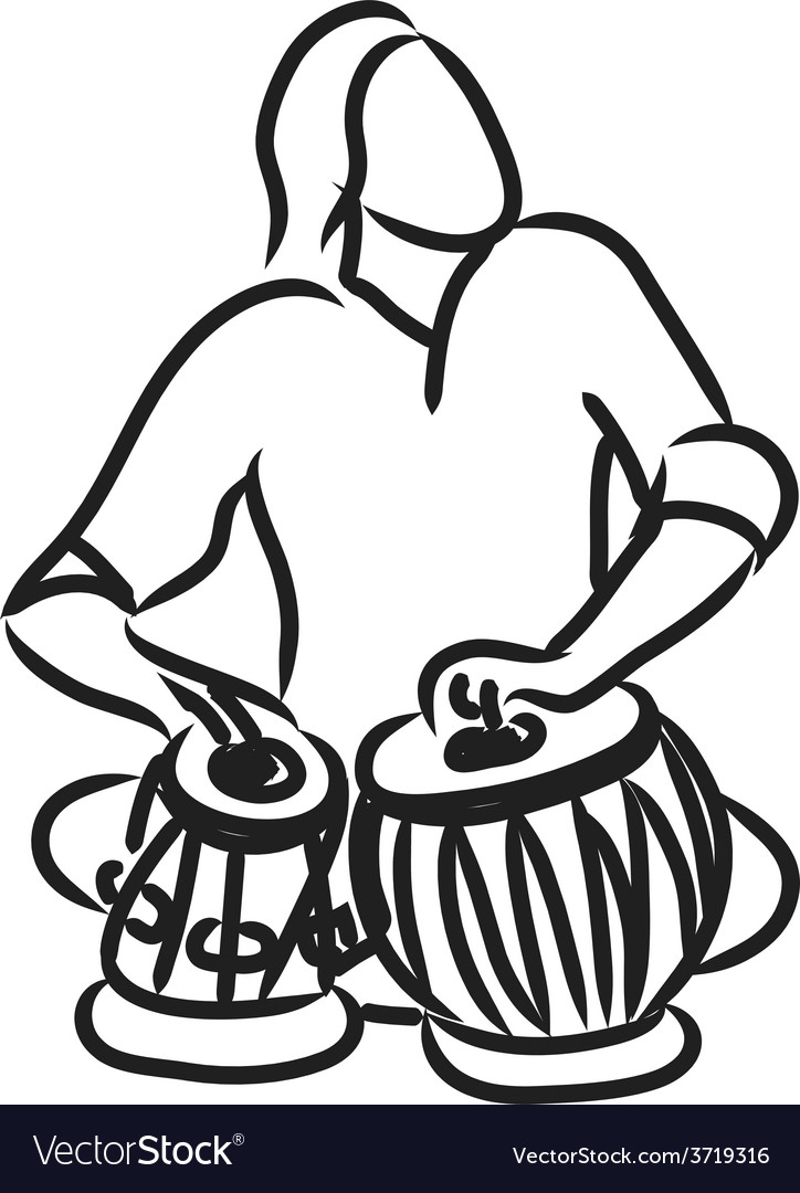 Indian musician playing tabla vector | Price: 1 Credit (USD $1)