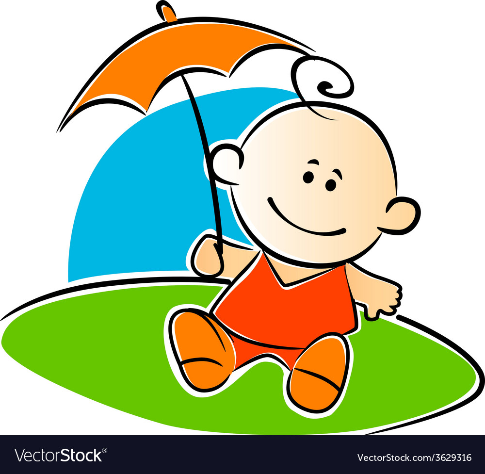 Little baby holding a sunshade or umbrella vector | Price: 1 Credit (USD $1)