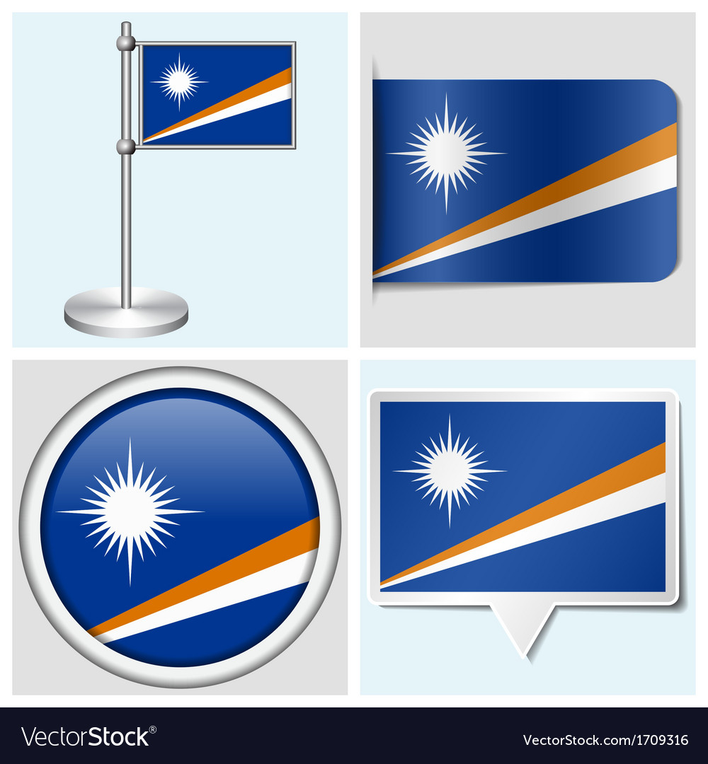 Marshall islands flag - sticker button label vector | Price: 1 Credit (USD $1)
