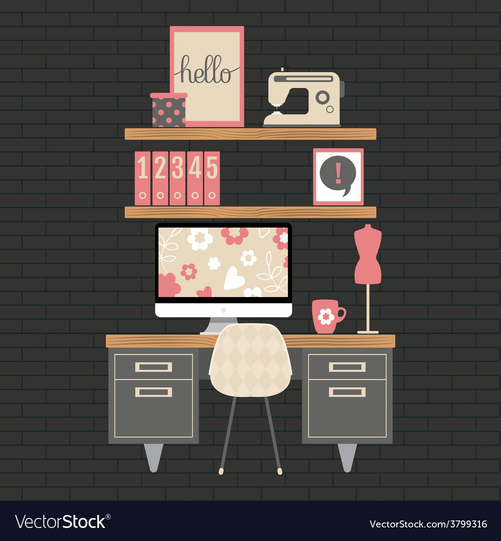 Modern home office workspace vector | Price: 1 Credit (USD $1)