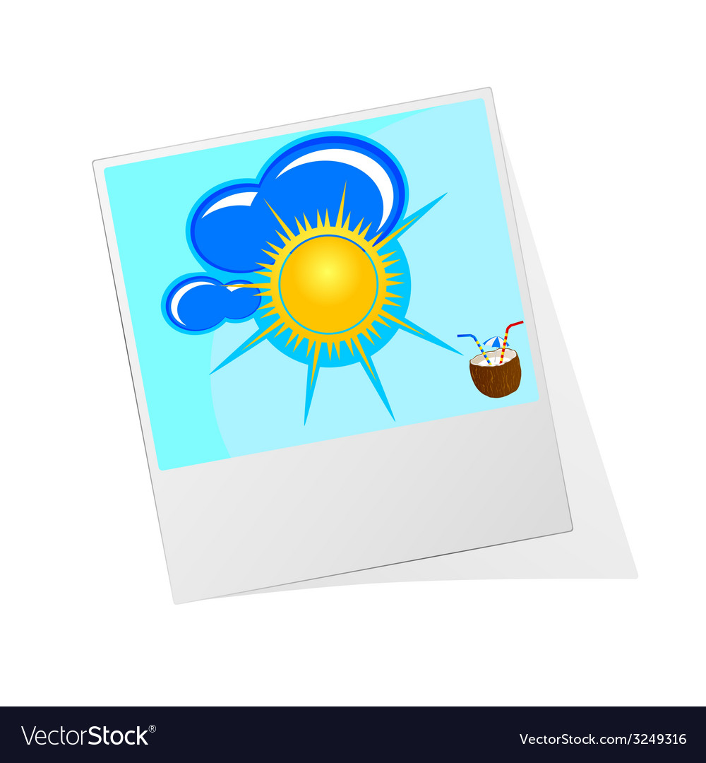 Photo frame with sun icon vector | Price: 1 Credit (USD $1)