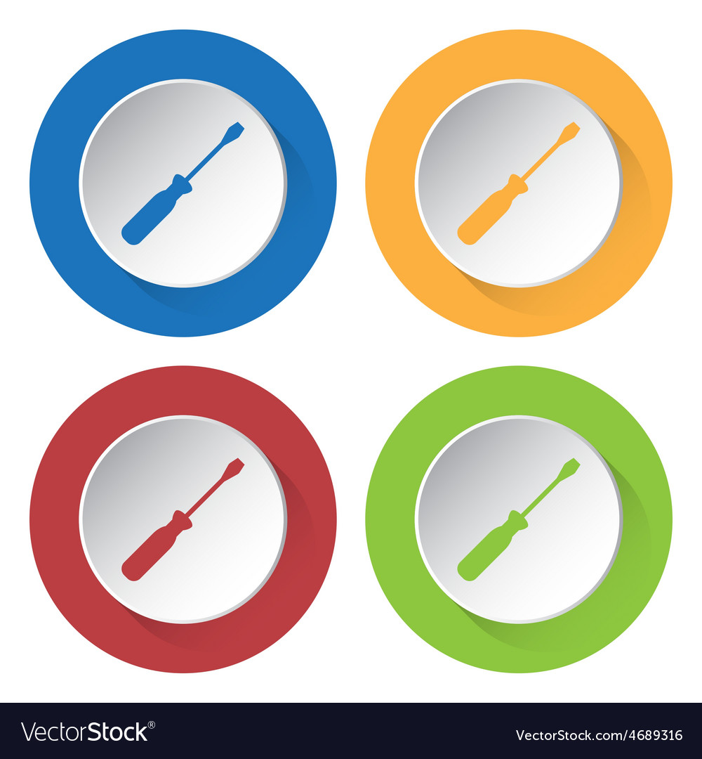 Set of four icons with screwdriver vector | Price: 1 Credit (USD $1)