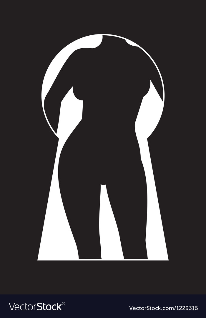 Silhouette of a woman figure seen in a key hole vector | Price: 1 Credit (USD $1)