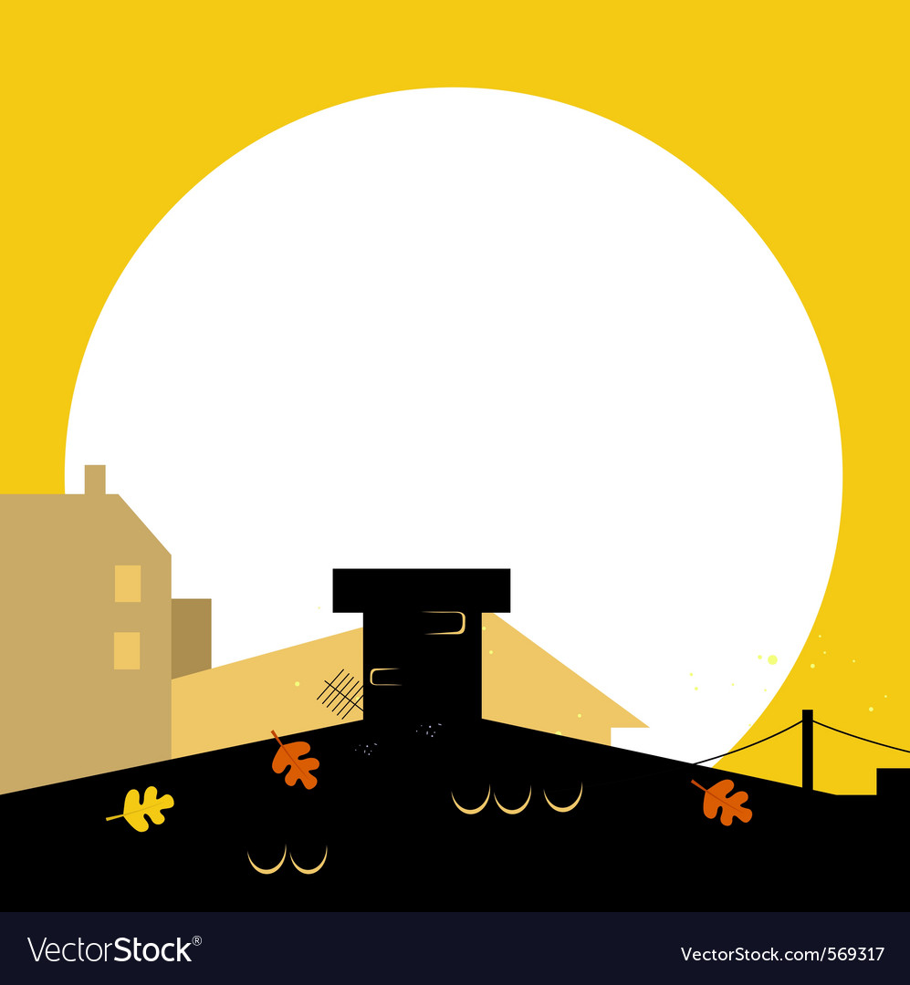 Autumn town black wilhouette with sunset vector | Price: 1 Credit (USD $1)