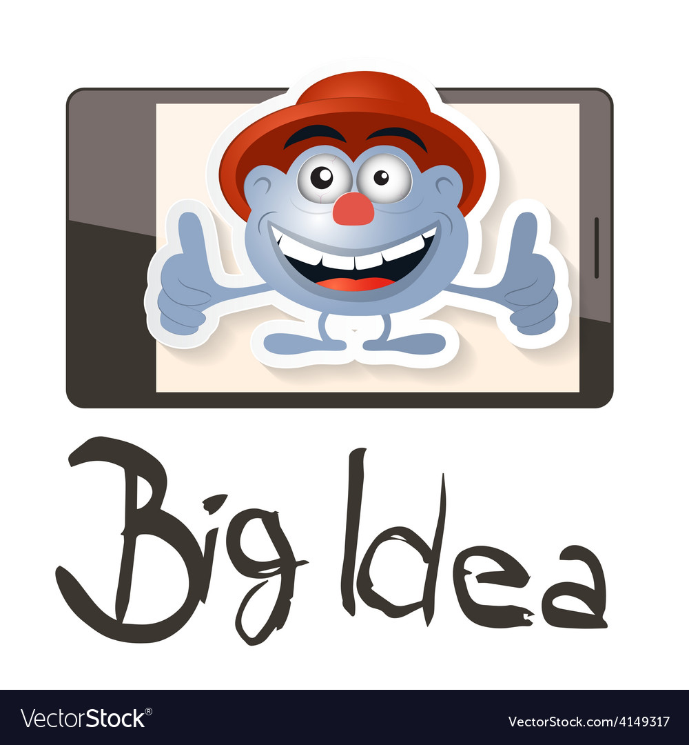 Big idea with funky man - avatar on cell pho vector | Price: 1 Credit (USD $1)