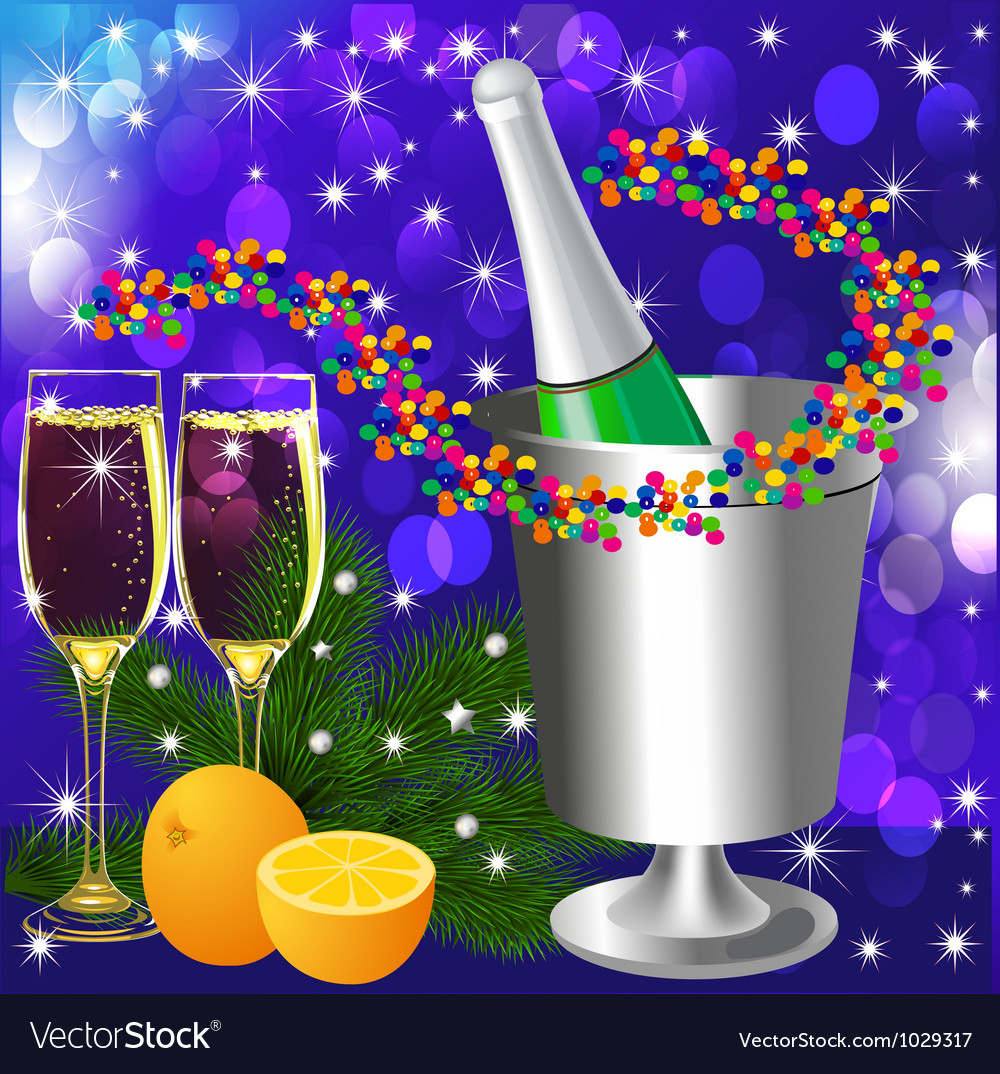 Festive background with wine goblet and orange vector | Price: 1 Credit (USD $1)