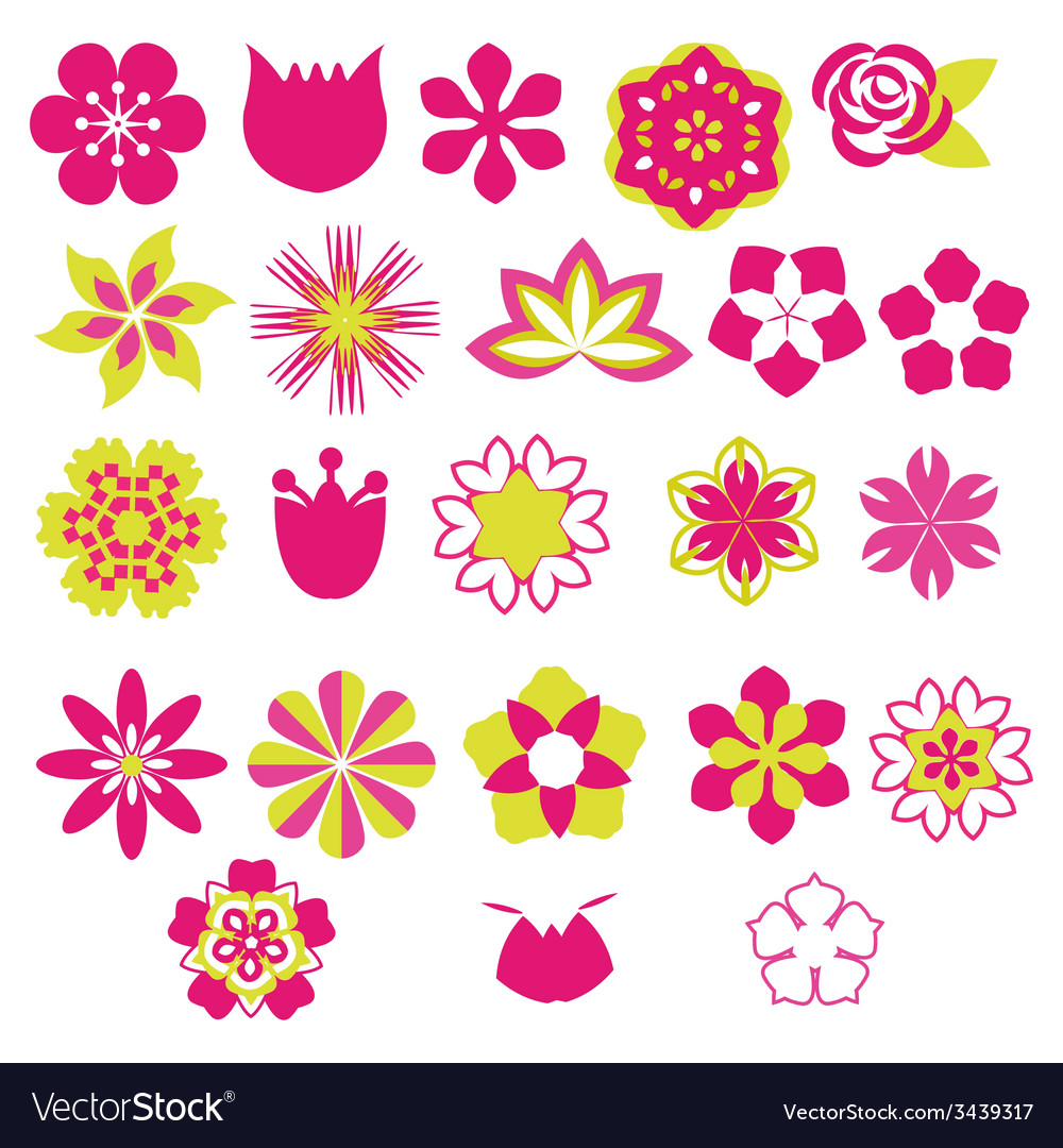 Flower symbols icon set- vector | Price: 1 Credit (USD $1)