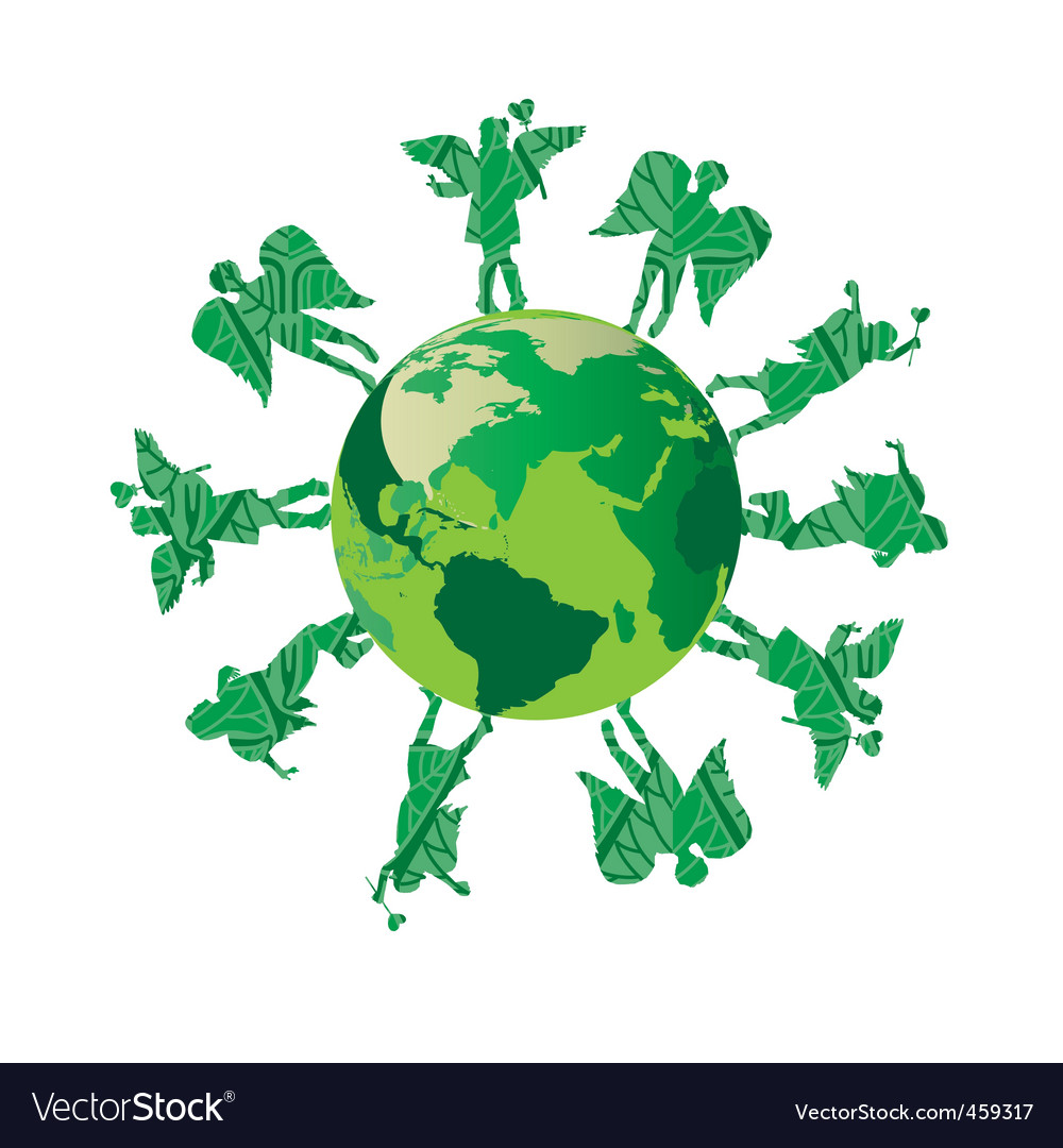Green kids on green earth vector | Price: 1 Credit (USD $1)