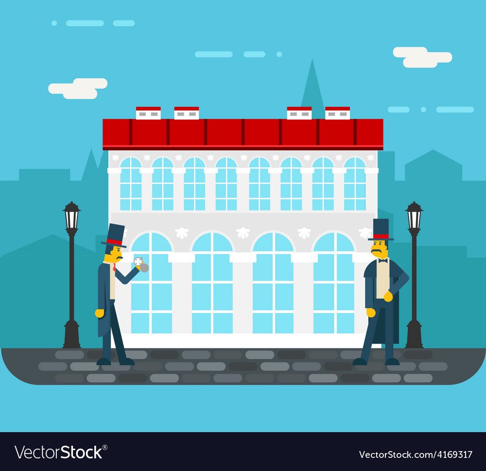 Meeting gentlemen on old city street icon on vector | Price: 1 Credit (USD $1)