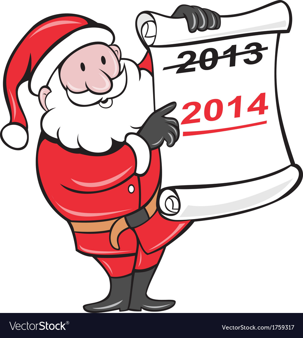 New year 2014 santa claus scroll sign vector | Price: 1 Credit (USD $1)