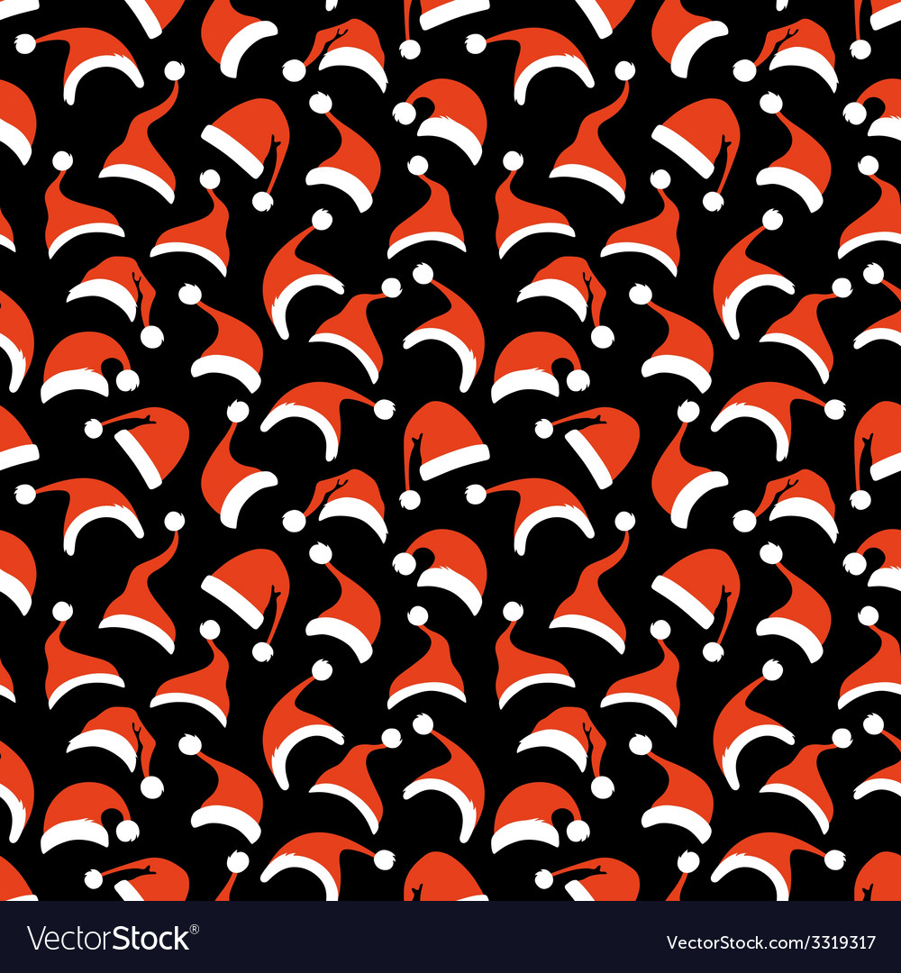 Seamless pattern of santa hats vector | Price: 1 Credit (USD $1)