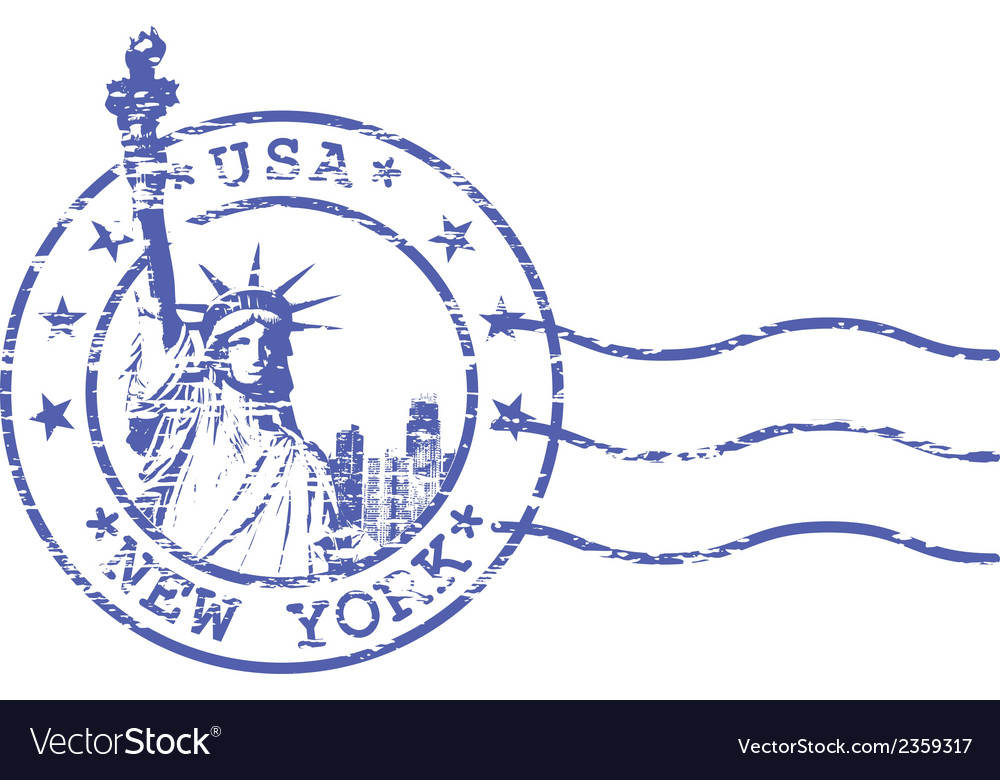 Shabby stamp with statue of liberty vector | Price: 1 Credit (USD $1)