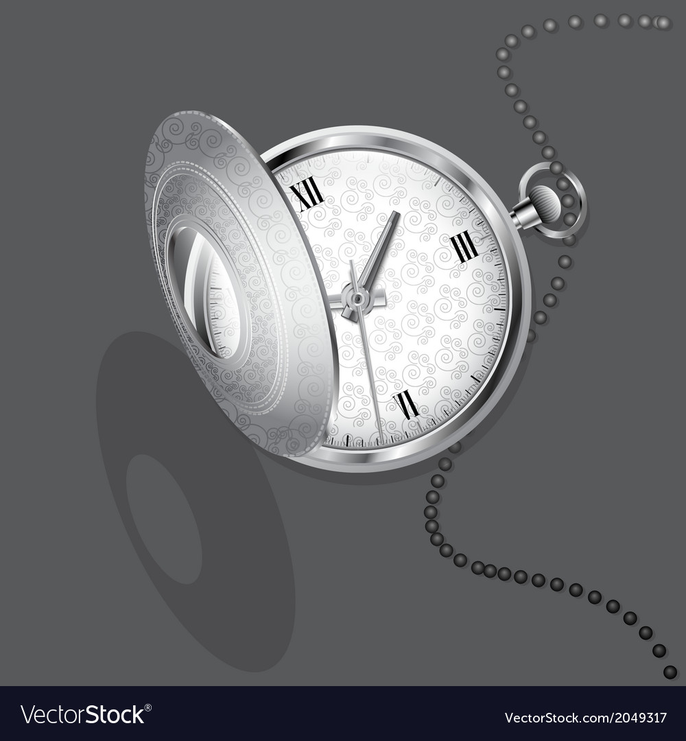 Silver chatelaine watch vector | Price: 1 Credit (USD $1)
