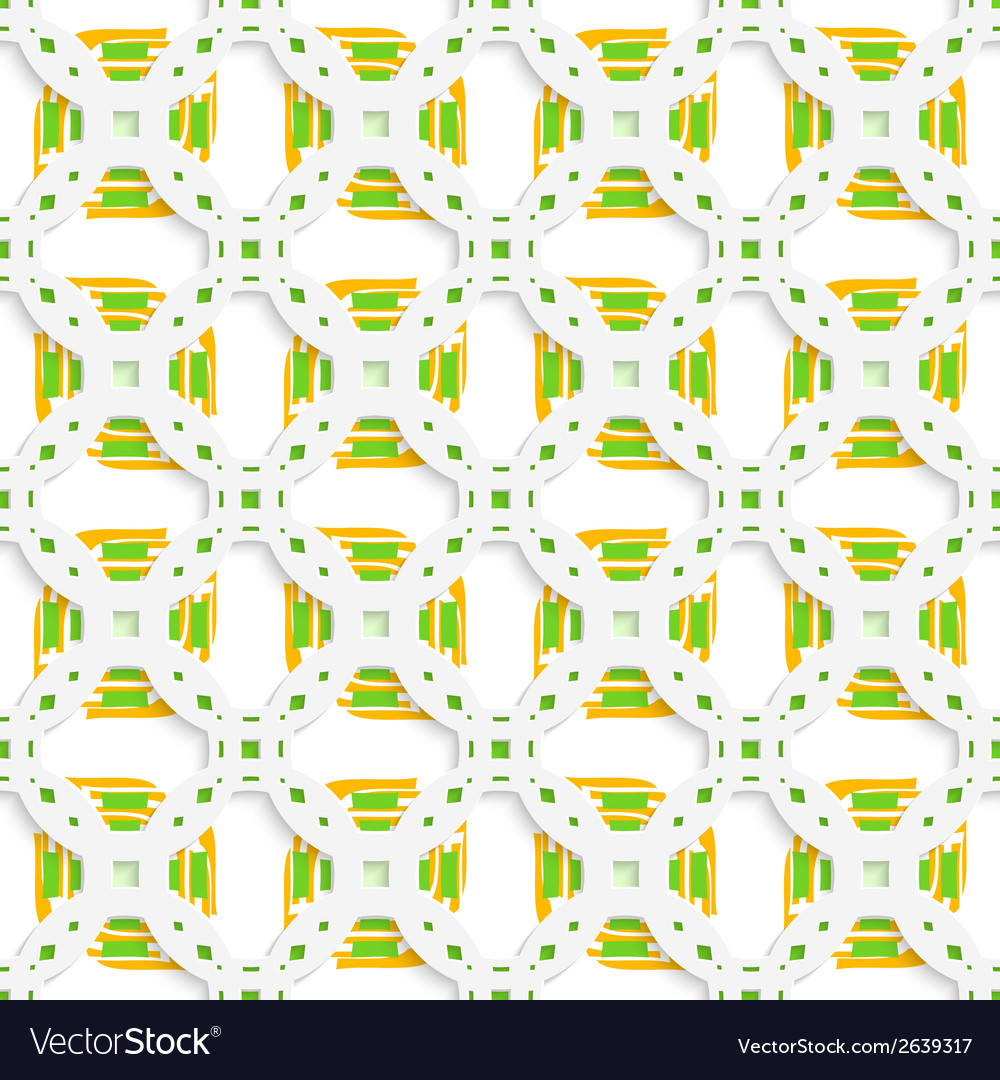 White perforated ornament with green orange vector | Price: 1 Credit (USD $1)